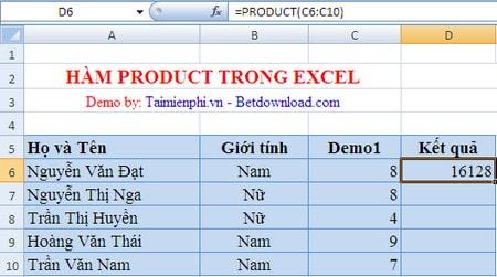Bạn có biết hàm PRODUCT trong Excel là gì không?