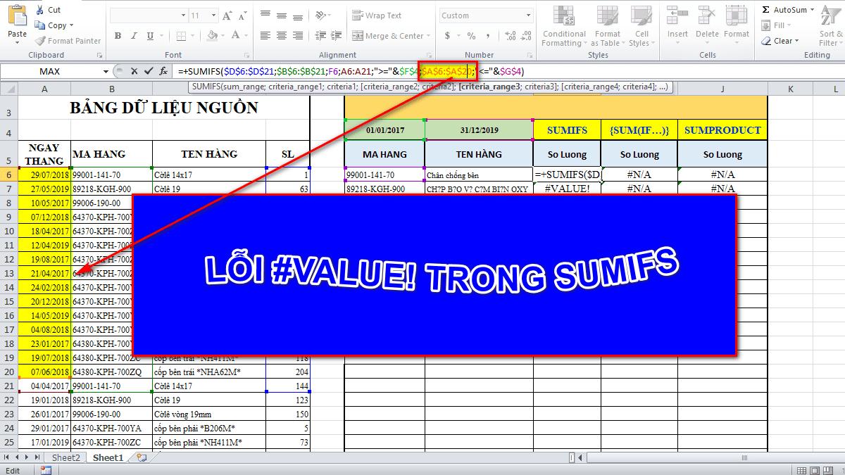 Lỗi Value trong Excel là gì?
